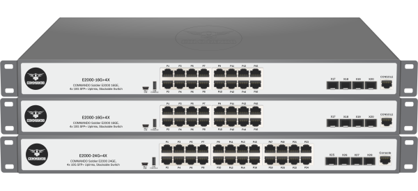 SOLDIER E2000 Series PoE+ w/ 10G Uplinks Stackable Switches